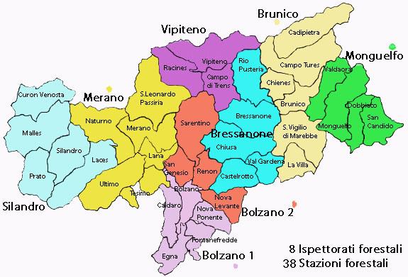 Bolzano Cartina.Organizzazione Servizio Forestale E Forestali Amministrazione