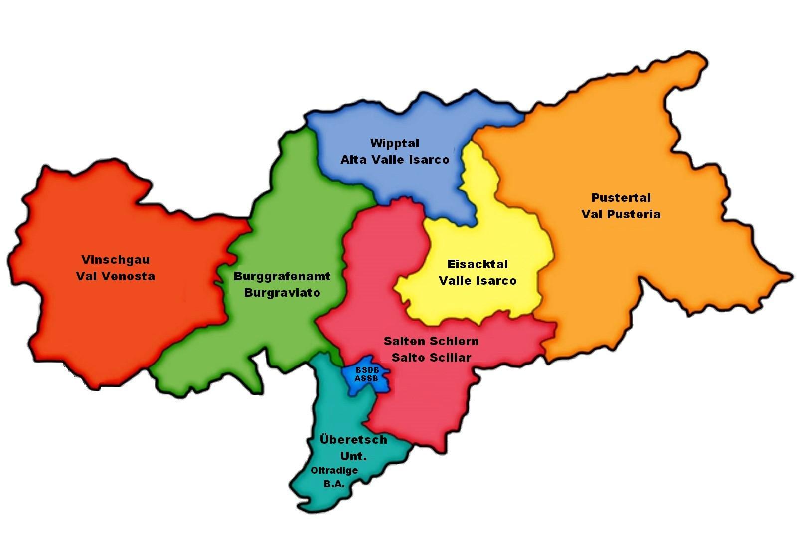 Cartina Geografica Vipiteno E Dintorni.Distretti Sociali Sociale Amministrazione Provinciale Provincia Autonoma Di Bolzano Alto Adige